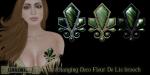 Eclectica Deco Fleur de Lis brooch- green