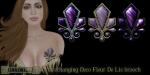 Eclectica Deco Fleur de Lis brooch- purple