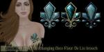 Eclectica Deco Fleur de Lis brooch- turquoise