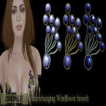 Eclectica Windflower brooch- blue