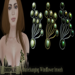 Eclectica Windflower brooch- green