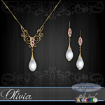 Olivia - Jewelry Set - Gold - MultiJewel