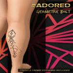#adored geometric bolt tattoo leg