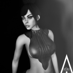 AiShA Lyn leather top B&W Poster